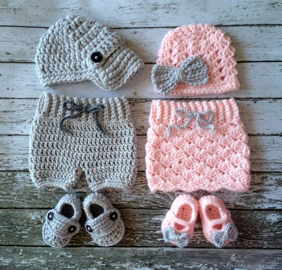 Twin Photography Prop Set in Pale Pink and Gray- Crochet Baby Pants/Skirt in 0-3 Size- MADE TO ORDER on Etsy, $100.00