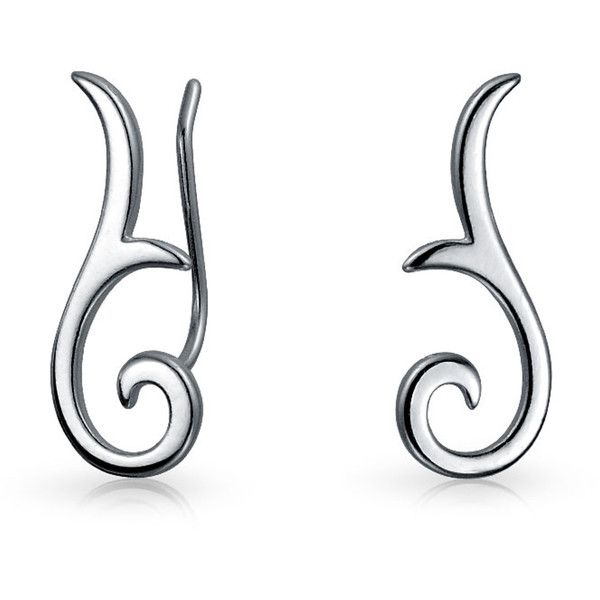 925 Sterling Silver Ear Pins Modern Swirl Tribal Ear Pins (1.240 RUB) ❤ liked on Polyvore featuring jewelry, earrings, silver, mouse jewelry, earring jewelry, pin jewelry, tribal jewelry and ear climber earrings