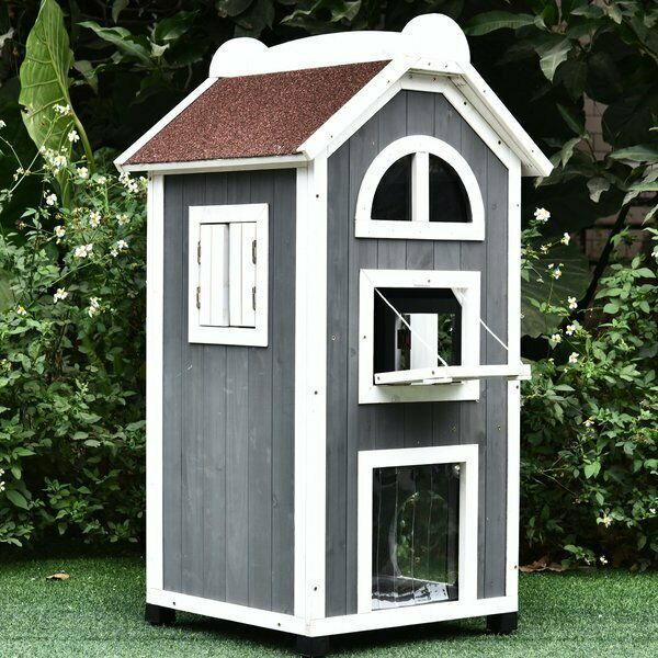 2 Floor Cat House Tall Wood Condo Outdoor Raised Kitty Pet Shelter House Windows Unbranded Outdoor Cat House Wood Cat Cat Condo
