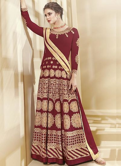 4408e21577b Maroon Georgette Semi-Stitched Ethnic Gown