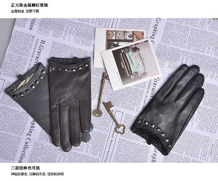 2017 Специальное Предложение Женщины Перчатки Запястье Заклепки Овчины Перчатки Женские Тонкие Натуральная Кожа Хип Хоп Овчины Вождения Limited L096NN купить в магазине YC leather gloves factory на AliExpress