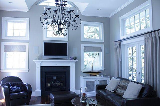 Gray walls white trim black furniture wood floors - Black living room furniture what color walls ...