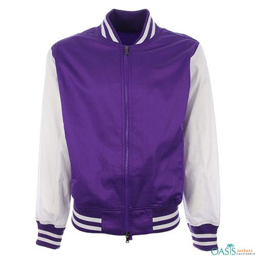 The super smart collection of the violet vale letterman jacket comes with super cool violet textured base that goes through back and front.
