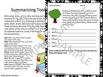 Summarizing: Summarizing worksheets - using who, what, when, where, why, and how. This is a 5 page document including 1 page of informational text and 4 practice worksheets. These worksheets ask for summarizing comprehension and creative thinking.