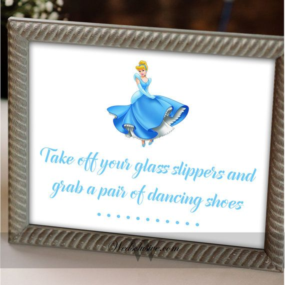 Cinderella Dancing Shoes Sign, Disney Theme Weddings, Fairy Tale Weddings , Princess Weddings, Flip Flop Sign - 8X10