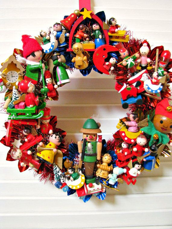 Toyland Vintage Christmas Wreath with LOTS of Vintage Wooden Ornaments. $36.00, via Etsy.  Playroom