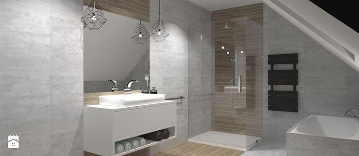 dom SEROCK II - Średnia łazienka na poddaszu w domu jednorodzinnym jako salon kąpielowy z oknem, styl nowoczesny - zdjęcie od Piwońska&Serwa