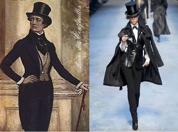 """No séc.XIX na moda masculina dá-se uma """"Grande Renúncia"""", surgindo assim o Dandismo-o homem abandonou a preocupação do belo dirigiu-se a uma filosofia estética baseada no pragmatismo, racionalismo e moralismo. Usavam um vestuário mais austero, sóbrio e unicolor ( típico traje de um homem racional). Este estilo surgiu com o inglês Beau Brummell que pregava a moderação e defendia que um Dandy não se definia pelo que usava mas sim aquilo que vestia representava os princípios que encarnava."""