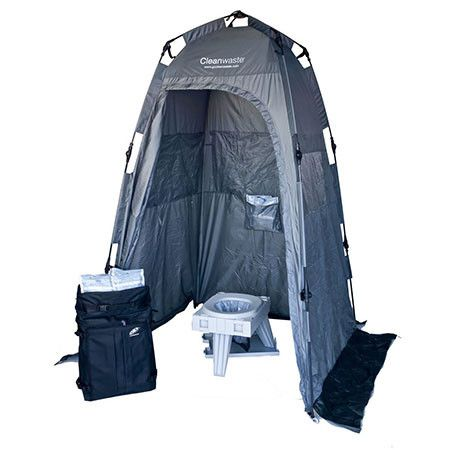 Ezygonow-GO-anywhere-Total-System | A complete bathroom in a backpack weighing only 8.2kg! Contains 1 x GO anywhere Portable Toilet, 15 x  Go anywhere toilet kits, 1 x GO anywhere privacy shelter, 1 x storage bag for used kits, 1 x backpack #camping #trekking #outdoors #portabletoilet #campingtoilet #hiking #compact #bushtoilet