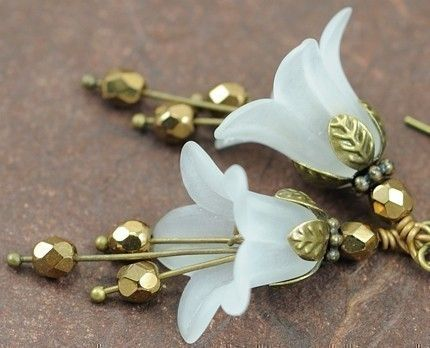 114 best jewelry lucite flowers leaves images on pinterest white flower earrings dangle earrings drop earrings by dalim mightylinksfo
