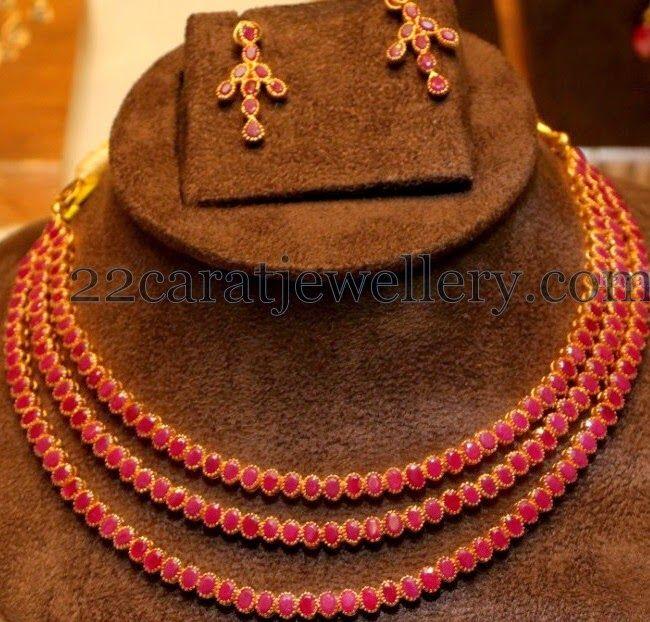Jewellery Designs: Triple Rows Chic Ruby Choker