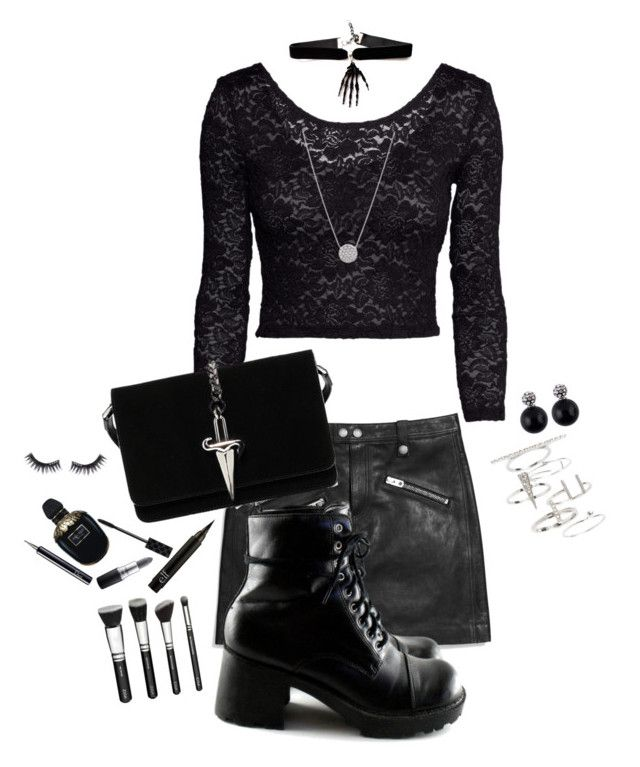 """""""Goth"""" by ac-awesome ❤ liked on Polyvore featuring H&M, Coach, Topshop, Cesare Paciotti, Gucci, MAC Cosmetics, Alexander McQueen, Manic Panic NYC and Christian Dior"""