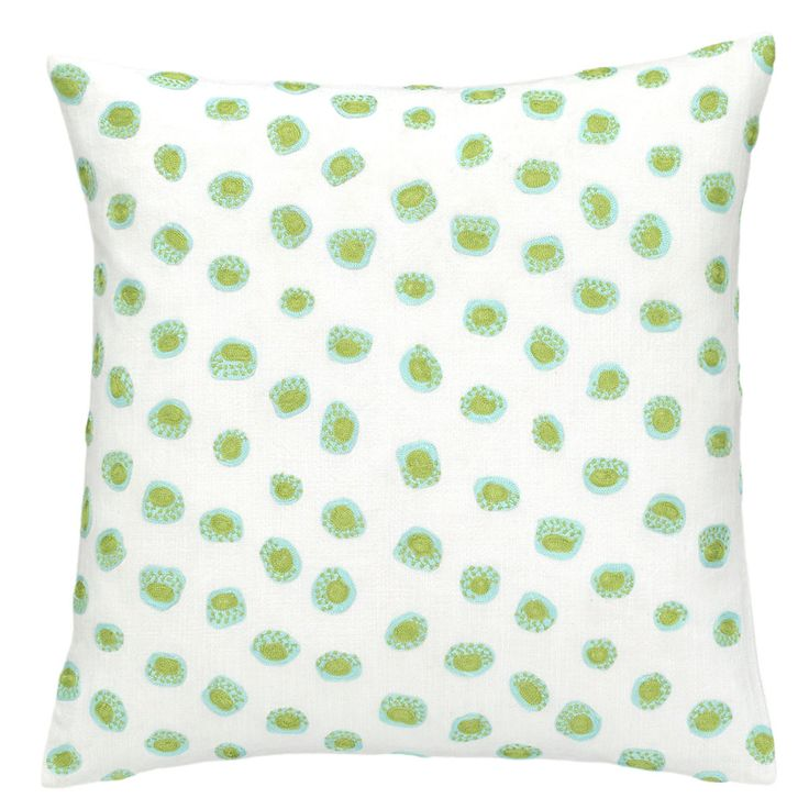 Pine Cone Hill Thumbprint Embroidered Decorative Pillow - Sky/Green