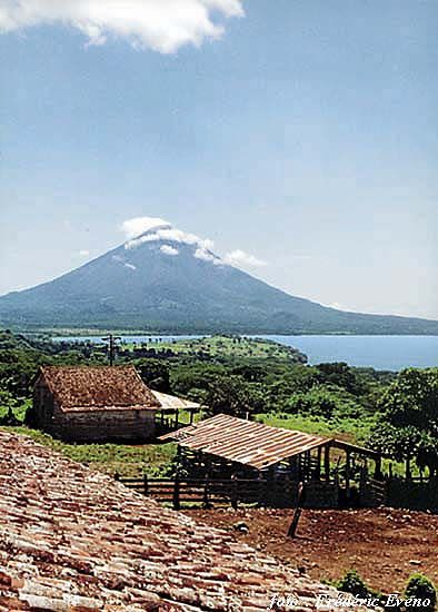 Ometepe Island, Nicaragua. Ometepe is an island formed by two volcanoes rising from Lake Nicaragua. (V)
