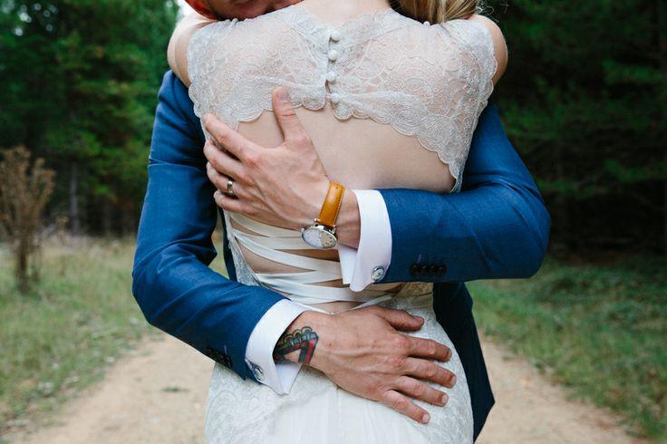 Groom wrist watch gift. Mariana Hardwick Gown. Blue suit