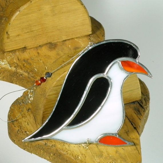 Gebrandschilderd glas zwart Penguin Christmas ornament & venster decoratie