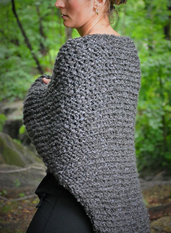 Outlander Knit Shawl / Claire's Gray Wrap by danielastange on Etsy