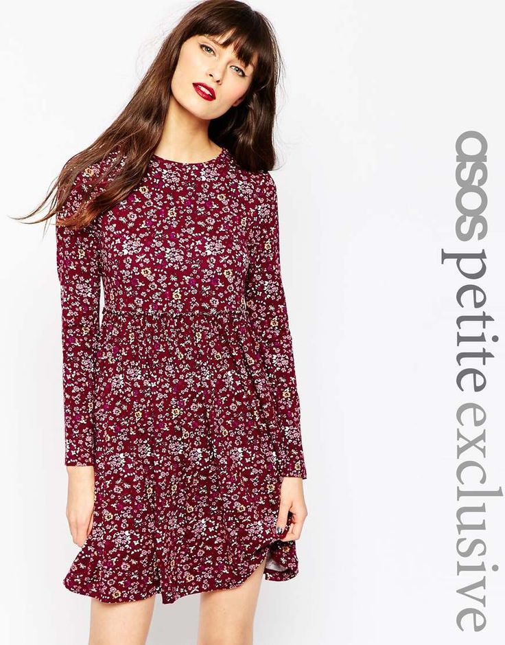 ASOS+PETITE+Exclusive+Babydoll+Dress+in+Ditsy+90's+Floral