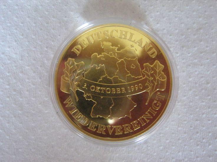 Gedekprägung Deutsche Wiedervereinigung,1990,Veredelung 985/1000,24 ct Hartvergoldet,40 mm,33,8 Gramm,Stempelglanz von AbrahamsTroedelShop auf Etsy