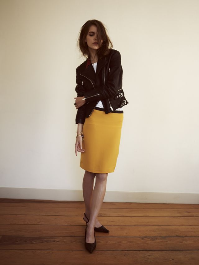 straight lines: yellos skirt, white tee and leather jacket. By Rika, Spring 2012 - www.rikaint.com via wolf eybrows