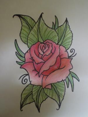 Rose drawing that i have coloured using pencils