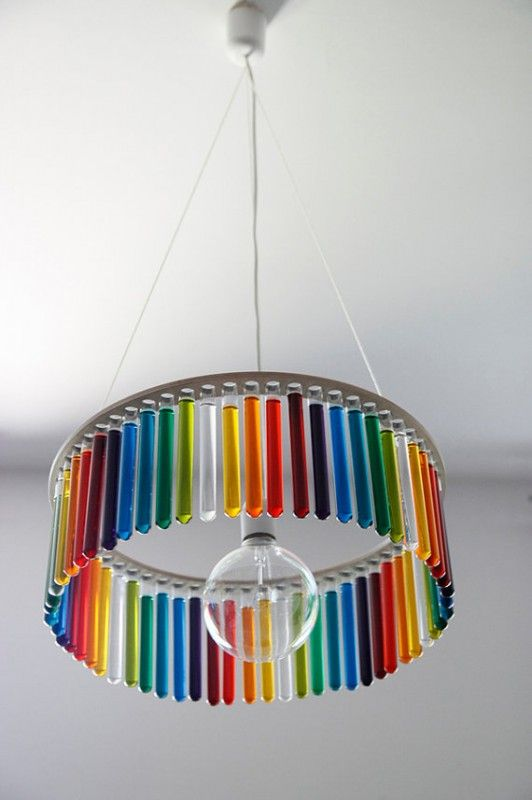 Test tubes & colored water make a cute chandelier