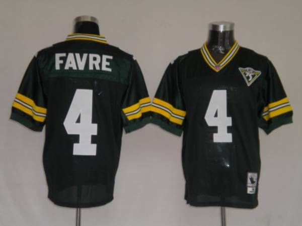 Mitchell & Ness Packers #4 Brett Favre Green With 75 Anniversary Patch Stitched Throwback NFL Jersey  $19.50