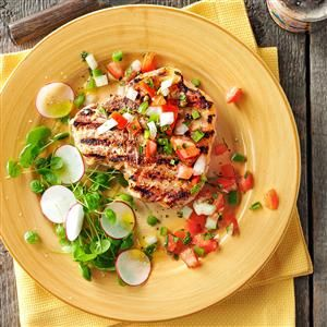 Dad's Best Pork Chops Recipe -My son, Kenneth, has loved pork chops since he was little, and he requests them often. He particularly likes this recipe because we pick the mint from the garden. —Greg Fontenot, The Woodlands, Texas