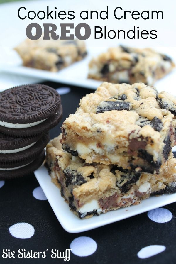 These Cookies and Cream Oreo Blondies have so many amazing flavors all stuffed inside one tasty treat! | SixSistersStuff.com