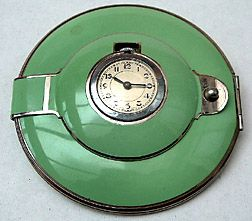 Art Deco Green Enamel Powder Compact with Clock ....