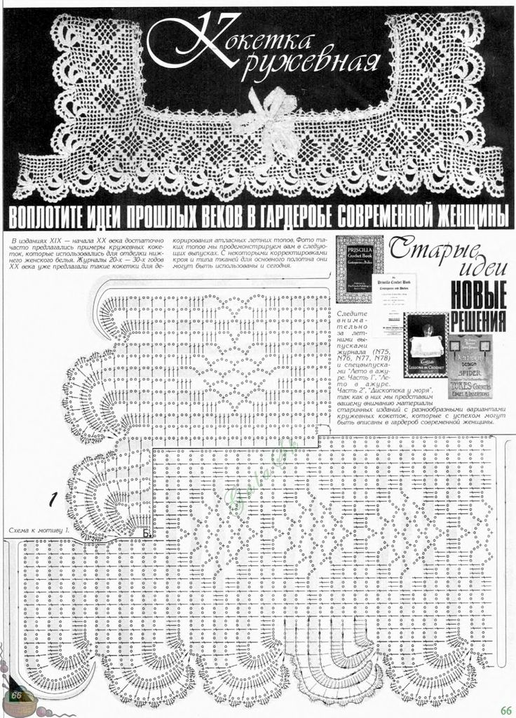Olgaknits. Вязание на спицах и крючком!: Кружевная кокетка крючком - винтаж.