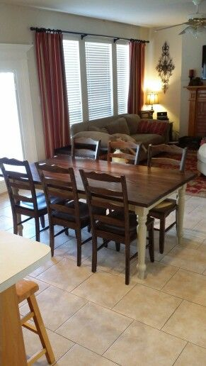 Farmhouse table with Zar wood stain charcoal and Behr safari vest satin Top