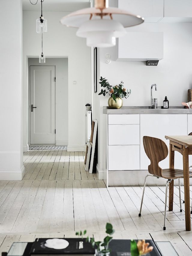 A Calm Swedish Space In Neutrals And A Beautiful Wood Floor
