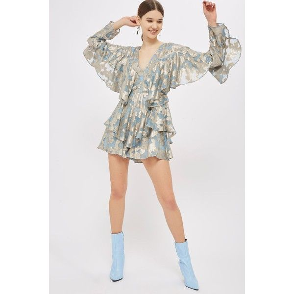 Topshop Foil Ruffled Plunge Playsuit ($130) ❤ liked on Polyvore featuring jumpsuits, rompers, light blue, topshop romper, going out rompers, long sleeve ruffle romper, topshop rompers and light blue romper