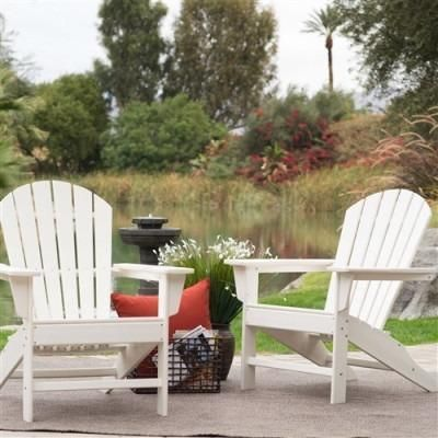 Outdoor Weather Resistant Patio Deck Garden Adirondack Chair in White Resin- Free Shipping