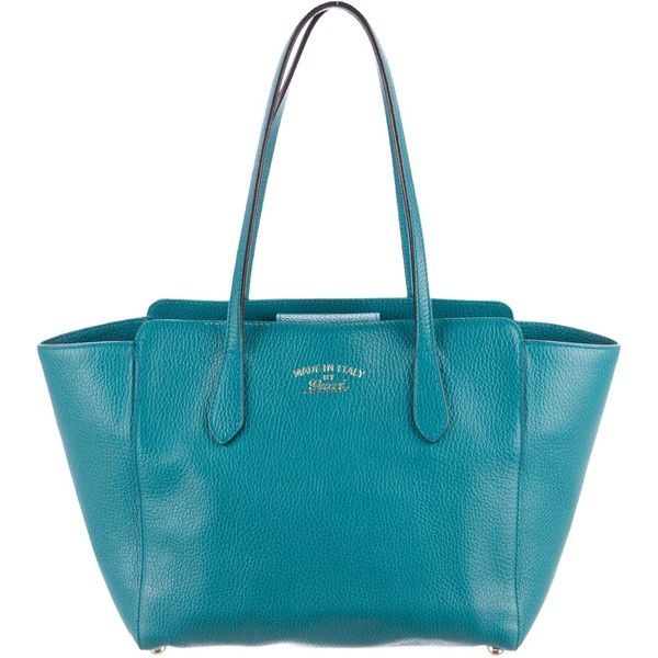 Pre-owned Gucci Small Swing Tote ($645) ❤ liked on Polyvore featuring bags, handbags, tote bags, blue, purse tote bag, purse tote, handbags totes, blue tote and gucci handbags