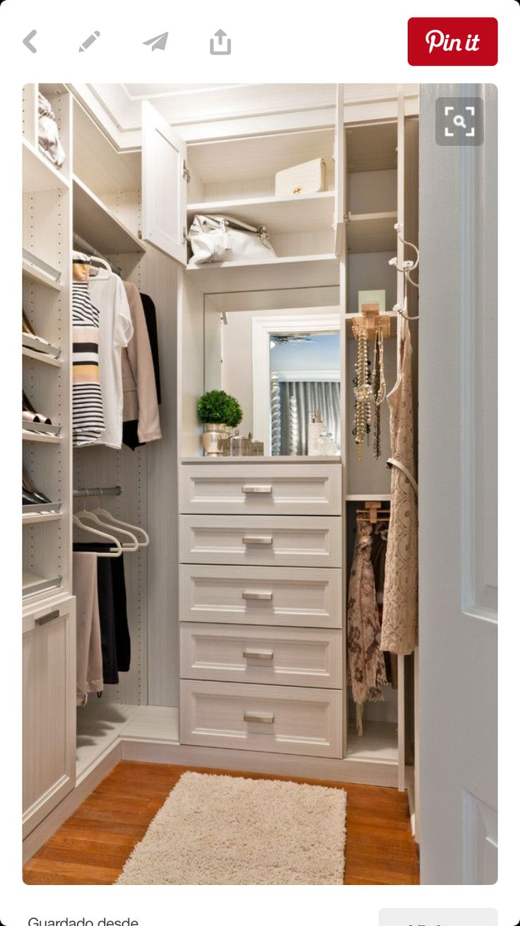 55 best images about small walk in closet on pinterest Master bedroom closet designs