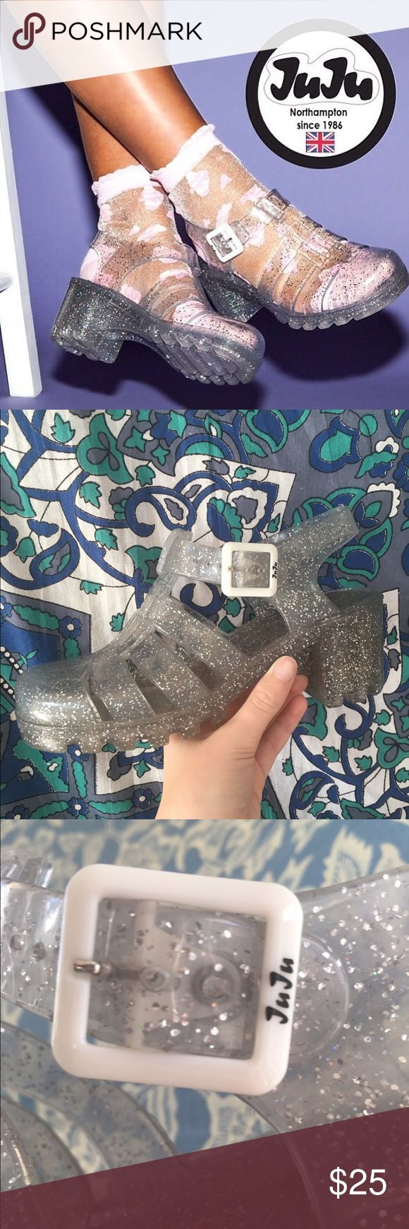 JUJU JELLY SANDALS JuJu brand clear sparkle jelly sandals⭐️ bought from Urban Outfitters not unif and I believe are now sold out online. Worn only once out so are in great condition💞 UK size 4 but I'm a size 7 in US sizes and they fit me perfectly. #90s #retro #urbanoutfitters #unif #jellysandals #americanapparel UNIF Shoes Sandals