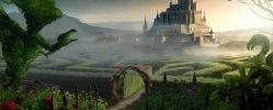 лабиринт, сад, вход, замок, фантазия, высокий, выстрежена, дорожка, арка, ворота