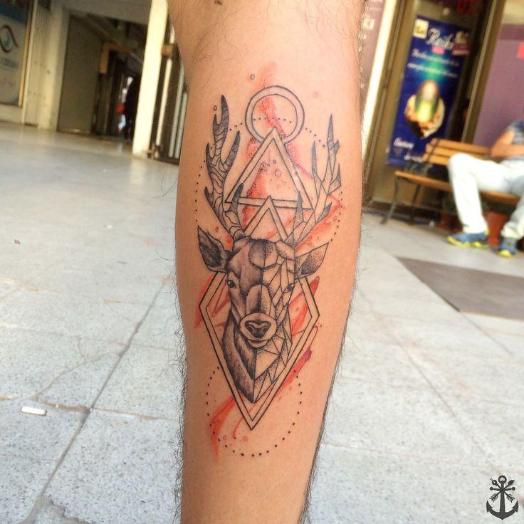 Deer Tattoo / Geometric Deer tattoo / watercolor deer tattoo / tatuaje Ciervo By Felipe A. Tapia
