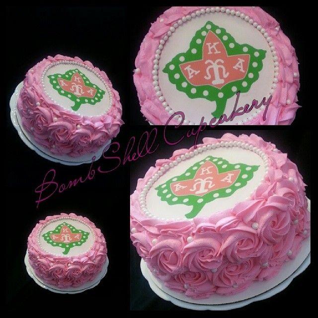 AKA Cake #aka #sorority #sororities #cake #birthdaycake #akacake #bombshellcupcakery #greek #strawberry #rosette #buttercream #edible #ivyleaf #pearls #orders #gradcake #graduationcake #college #women #pinkandgreen #Georgia #Atlanta