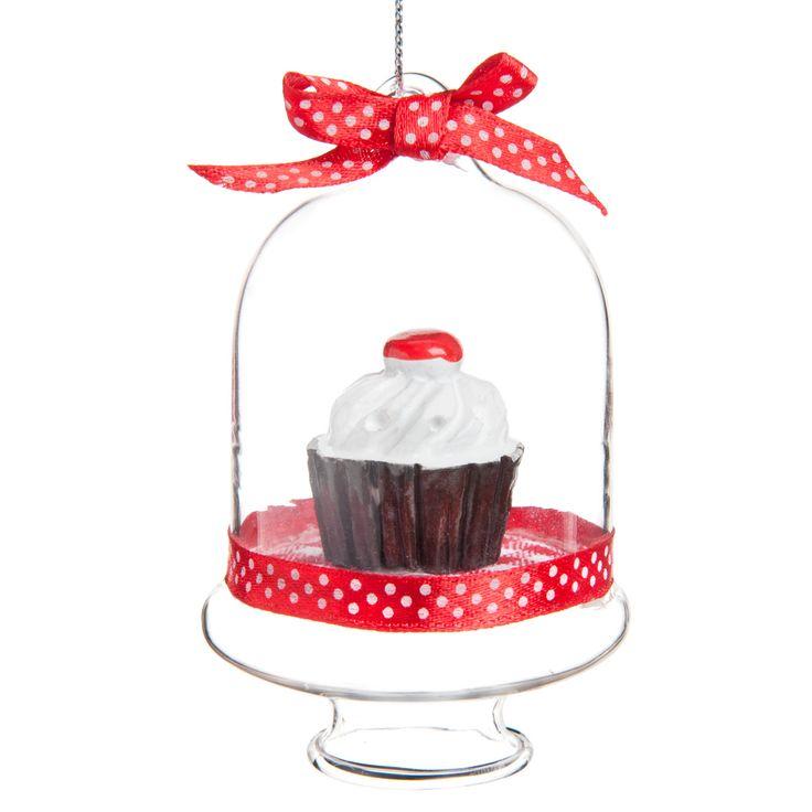 Decorazione campana cupcake Vichy rossa per albero di Natale   - Venduto x 6