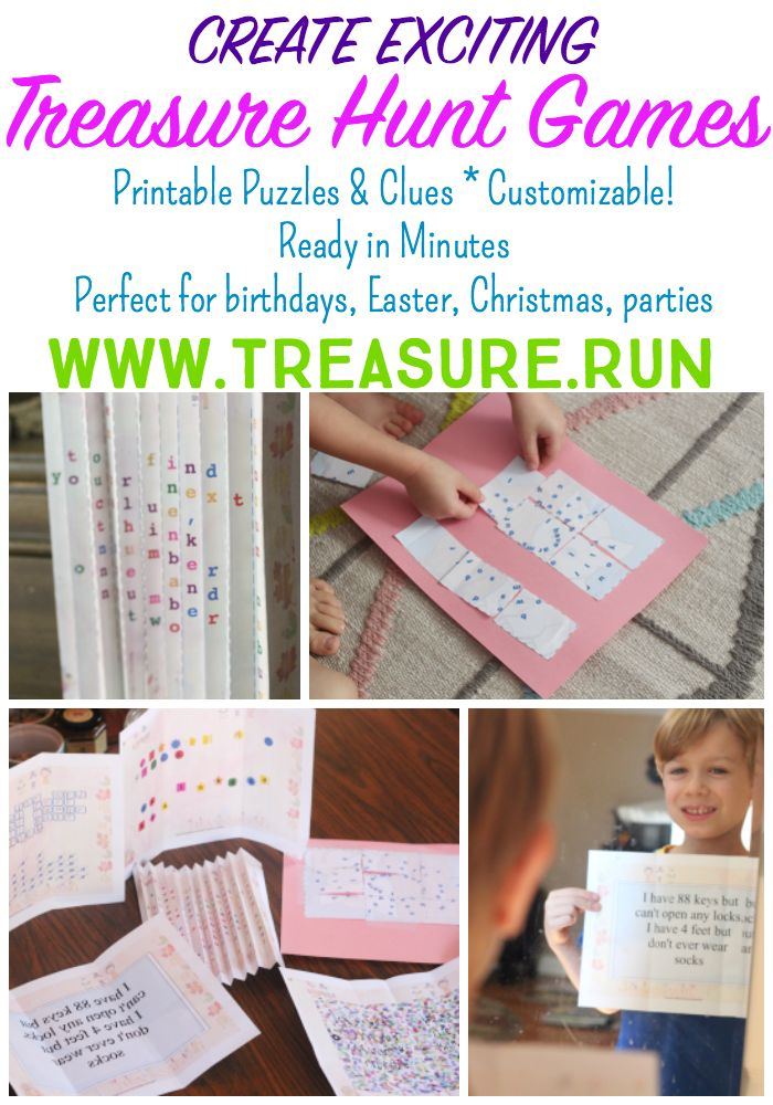 Create exciting treasure hunt games with fun puzzle clues - in just minutes with Treasure Run! Treasure Run lets you create and customize then print treasure hunts for home, school, outdoors... just about anywhere! Play with up to 20 kids! Perfect for birthday party games, holidays, Advent Calendar games, rewards, and more! (sponsored)