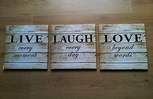 New Set 3 Vintage Shabby Chic Live Laugh Love Wood Effect Canvas Wall Art