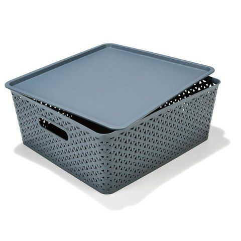 Flat Storage Container with Lid - Grey