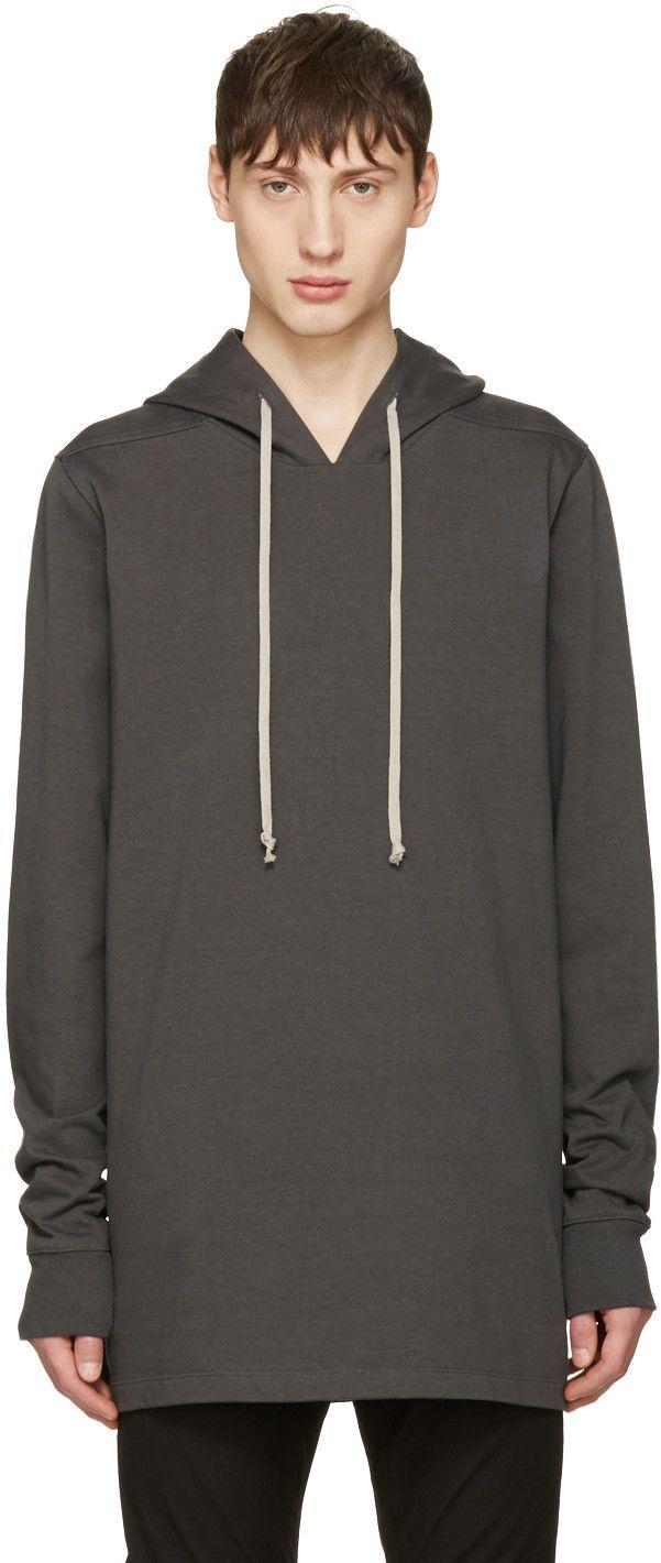 RICK OWENS Grey Pullover Hoodie. #rickowens #cloth #hoodie