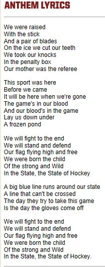 The State of Hockey, MN Wild Anthem Lyrics