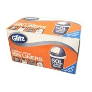 Glitz 50L Large Tie Top Kitchen Bin Liners - 60 Pack | Bunnings Warehouse