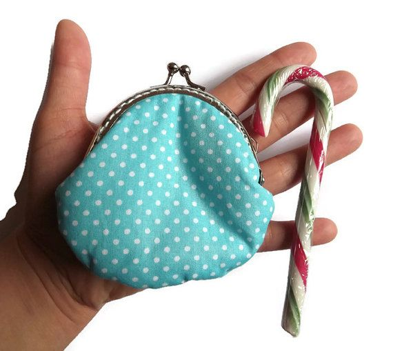 Dots frame coin purse turquoise coin purse with by Monalinebags