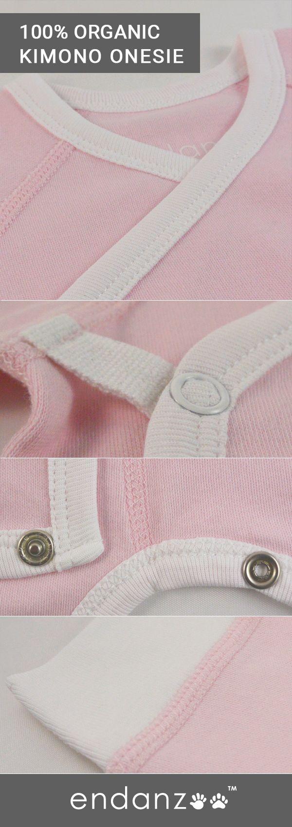 Endanzoo Organic Kimono Onesie - Pink. 100% Organic Cotton.